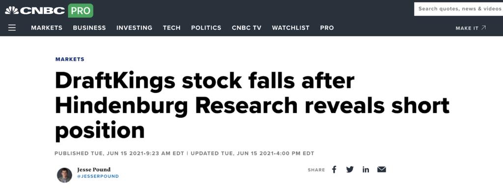 DraftKings stock falls